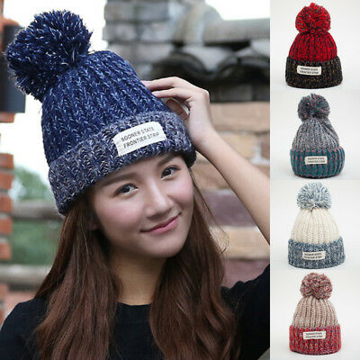 AU Stock Women Kids Knit Crochet Ball Cap Beanie Wool Baggy Ski Hat Winter Warm
