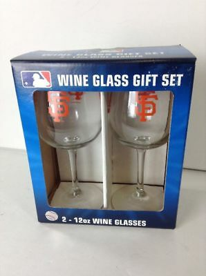 New San Francisco Wine Glasses. 2 - 12 oz, Clear with orange lettering.
