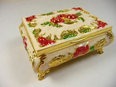 OLD SUPERB COPPER CLOISONNÉ LUXURY JEWELRY RING BOX CARVED FLOWER  lm1942