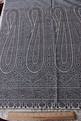 "Antique 19thC Blue & White Woven Paisley Border Shawl Fabric Piece~40""LX26""W"