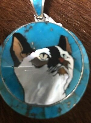Siamese Cat Pendant Sterling Silver Turquoise Inlaid Handmade David R Freeland