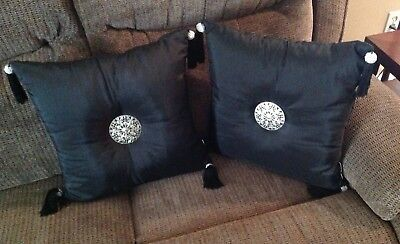 Two Black Decorative Pillows W/ Tassels And Silver Metal Decoration (Lot Of 2)