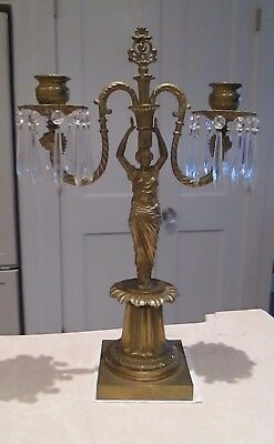 Empire French Antique Bronze Candelabra W/ Crystal Prisms