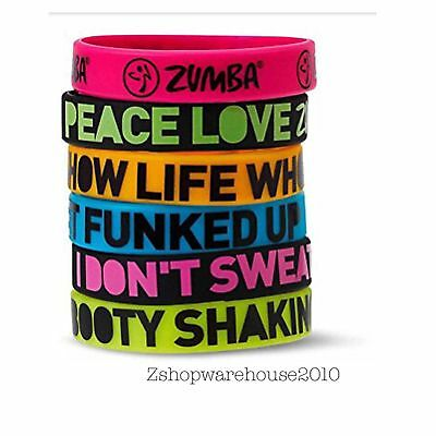"ZUMBA Pack of 6 ""ExpressYourself"" Rubber Bracelets Stylish+Fab! fr.Convention"