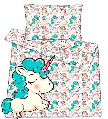Baby toddler cot cot bed set duvet cover pillowcase 100%cotton pink unicorn pony