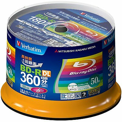 Mitsubishi Verbatim Blu-ray BD-R DL 50GB 6x Recordable Disc, 50-Disc Spindle