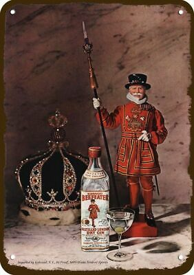 1964 BURROUGH'S BEEFEATER LONDON DRY GIN Vintage-Look REPLICA METAL SIGN