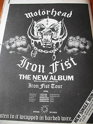 "Motorhead ""iron Fist"" 1982 Album  + Tour Dates Advert Full Page"