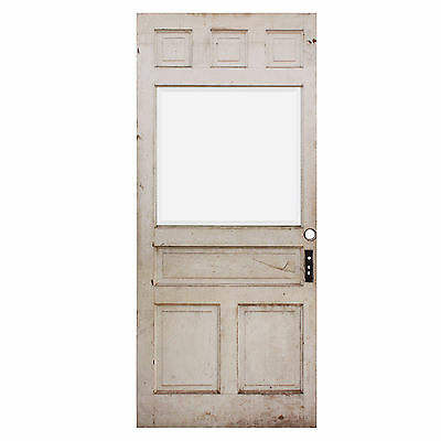 "Reclaimed 40"" Antique Door with Beveled Glass, Early 1900s, NED640"
