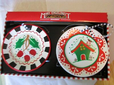 Mary Engelbreit Collection Christmas Plates Dishes Ornament Cherry Winter House