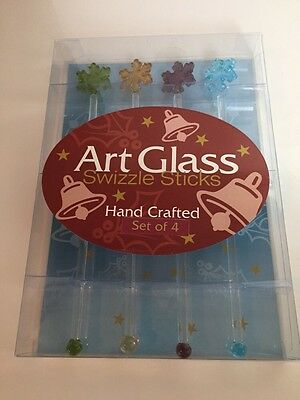 Snowflake Art Glass Swizzle Sticks Set Of 4 ~NEW In BOX~