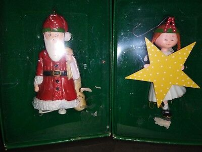 """2  New Mary Engelbreit  Ornaments """"a """" Is For Angel *** S Is For Santa"""