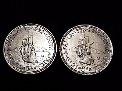 1952 South Africa 5 Shillings Silver Circulated coins - Lot of 2 (LN567)