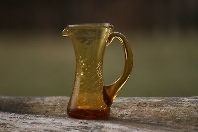 """Amber Hand-Made Crackle Glass Pitcher (5"""" tall)"""