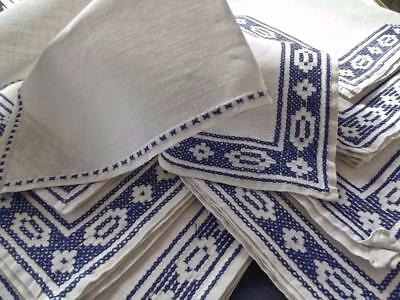 """8 Antique Italian Pure Linen 15"""" Napkins Blue Assisi Geometric Hand Embroidery"""