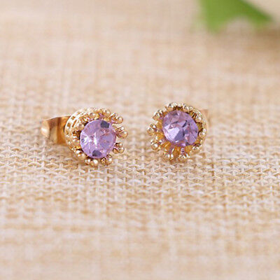 Plating Alloy & Crown Design Zircon Ear Piercing Gold Stud Earrings