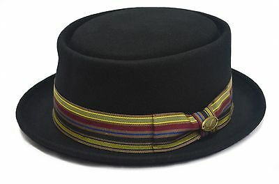 a24736fe402 100% Wool Felt Round Top Porkpie Fedora Wide Brim Trilby Dress Gambler Hat  Cap
