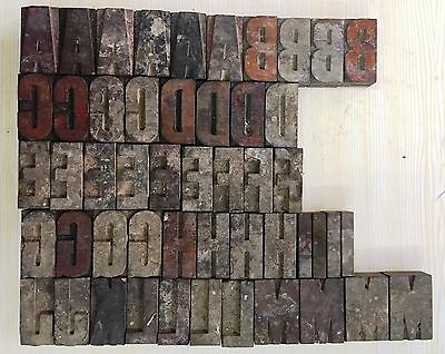 113 piece Vintage Letter Press Wooden Type Printing Blocks 67 mm Used #55107