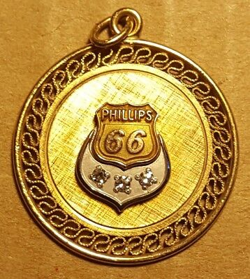 Vintage Phillips 66 gasoline Adv. Necklace pendant - May be gold Center logo