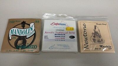3X Sets of Mandolin strings Looped End