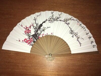 Antique/Old Japanese Chinese Bamboo Paper Hand Painted Picture Hand Fan