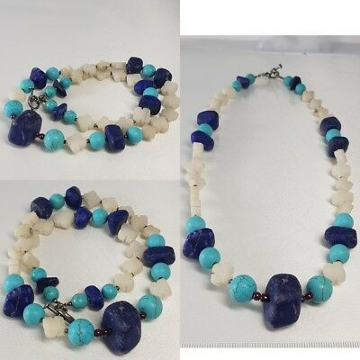 Old carved jade & Lapis stone Beautiful Necklace      # V2