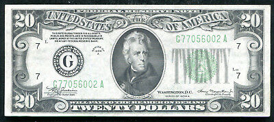 1934-A $20 Twenty Dollars Frn Federal Reserve Note Chicago, Il About Unc