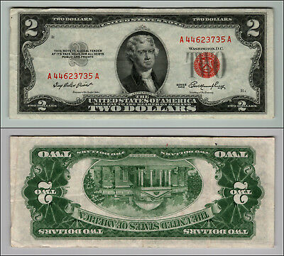 1953 $2 Dollar Bill Old Us Note Legal Tender Paper Money Currency Red Seal P680