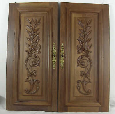 French antique walnut door cabinet panel  foliage