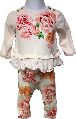 PRE-OWNED Girls Ted Baker Pink Mix Floral Outfit Size 3-6 Months
