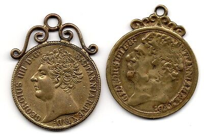 1823, George III / 3rd, Guinea, Gaming Token, (2), Mounted,Issued Queen Victoria