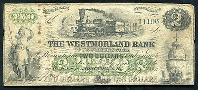 1861 $2 Westmorland Bank Of New-Brunswick Moncton, Nb Canada Chartered