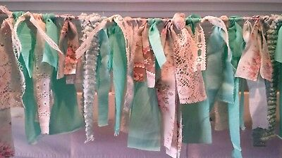 5 ft photo prop fabric garland Shabby baby country teal aqua lace vtg banner