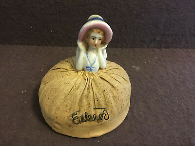 Antique Vintage  Porcelain Half Doll Lady Pin Cushion Original cushion Lady Hat