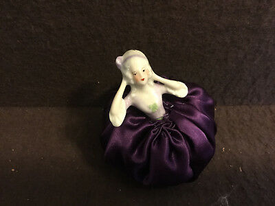 Antique Vintage Half Doll Pin Cushion Victorian Deco Porcelain