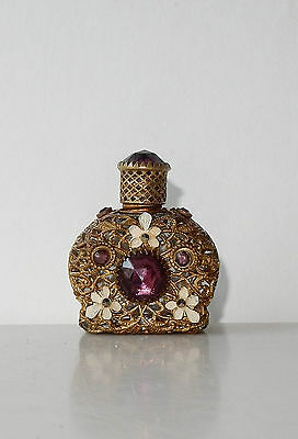 Antique Czech Glass Perfume Bottle Mini Purple Amethyst Filigree Enamel