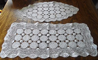 "Lot Of 2 Lace Crochet Doilies Medallion White Cotton 25"" X 12""  & 27 1/2"" X 12"""