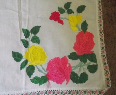 Vintage White Embroidered Tablecloth / Table Topper Pink Yellow Flowers 38X37""