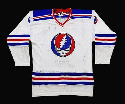 Grateful Dead Shirt Hockey Jersey Vintage 1990s Steal Your Face NHL Puck L NEW