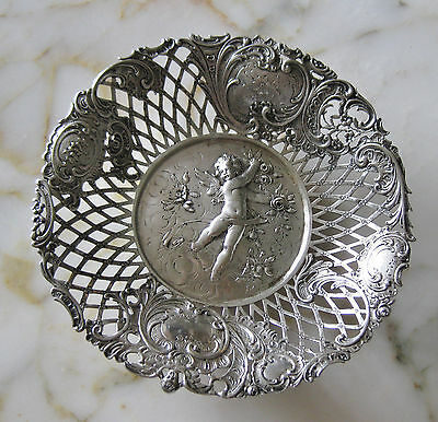GERMAN SILVER .800 OPEN WORK HAND CHASED CANDY DISH c.1870s, 248 gr. or 8.7 oz.