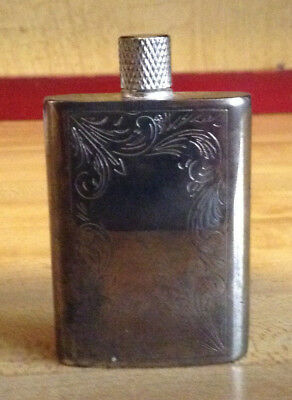 Vintage Silver Etched Perfume Bottle 2 1/4""