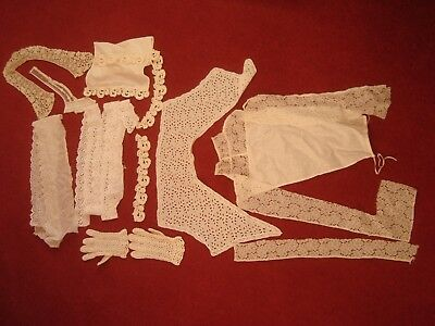 Variety Antique French Lace Lace Pieces Gloves Collars Mixed Items Sewing Craft
