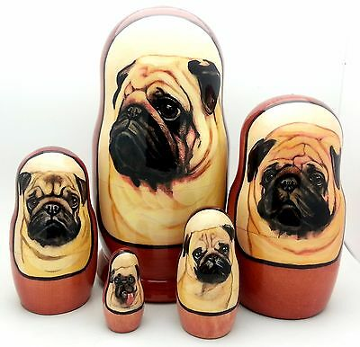 Pug dog breed Russian Hand made puppy animal pet Nesting DOLL Set of 5 dolls