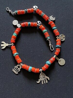 Morrocan Berber Tuareg Tribal Ethnic Orange Coral & Turquoise rondelle Necklace.