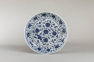20th Chinese Antique Blue and White Porcelain Lotus Dish BON769
