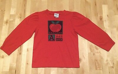 NOS! Girls Vintage 80s OSHKOSH A IS FOR APPLE LS T Shirt Size 6 MADE IN USA