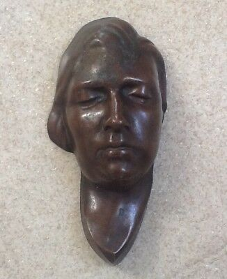 ANTIQUe small art deco nouveau bronze copper woman face wall sculpture miniature