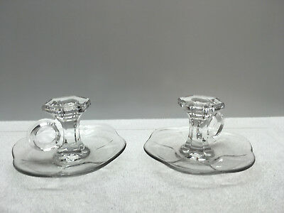 2 Vintage Clear Glass Chamberstick Candlestick Holders with Handles