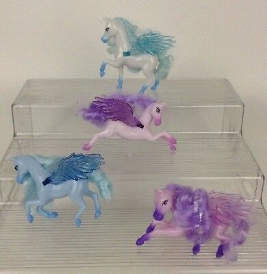 LOT (4) Mattel Barbie and The Magic of Pegasus Miniature Ponies Blue White Pink