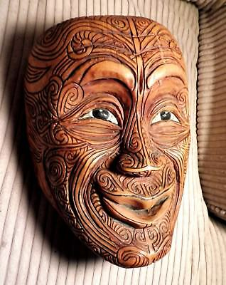 Old Maori Mask, New Zealand, hand carved, painted wood Mask, 1978, stunning